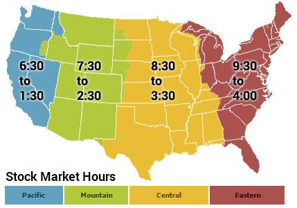 The Opening Hours of the Stock Market Across the 4 States of the US