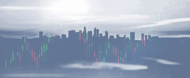 City skyline with chart superimposed over it