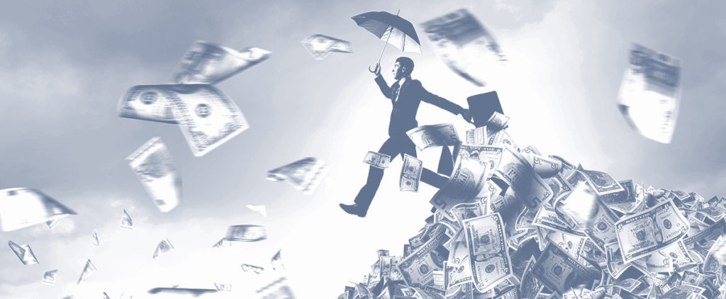 a man with an umbrellas running through money